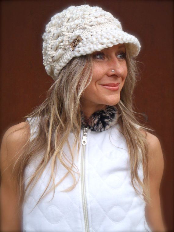 Cream Visor Beanie Crochet Hat Brimmed Hat Womens Fashion Off White