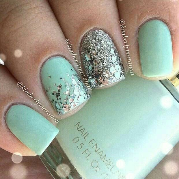 Mint & Silver Glitter Nails for homecoming - Pin By Dee Lee On Nailed It Pinterest Makeup, Manicure And Nail Nail