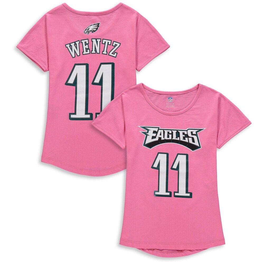 Girls Youth Carson Wentz Pink Philadelphia Eagles Dolman Mainliner