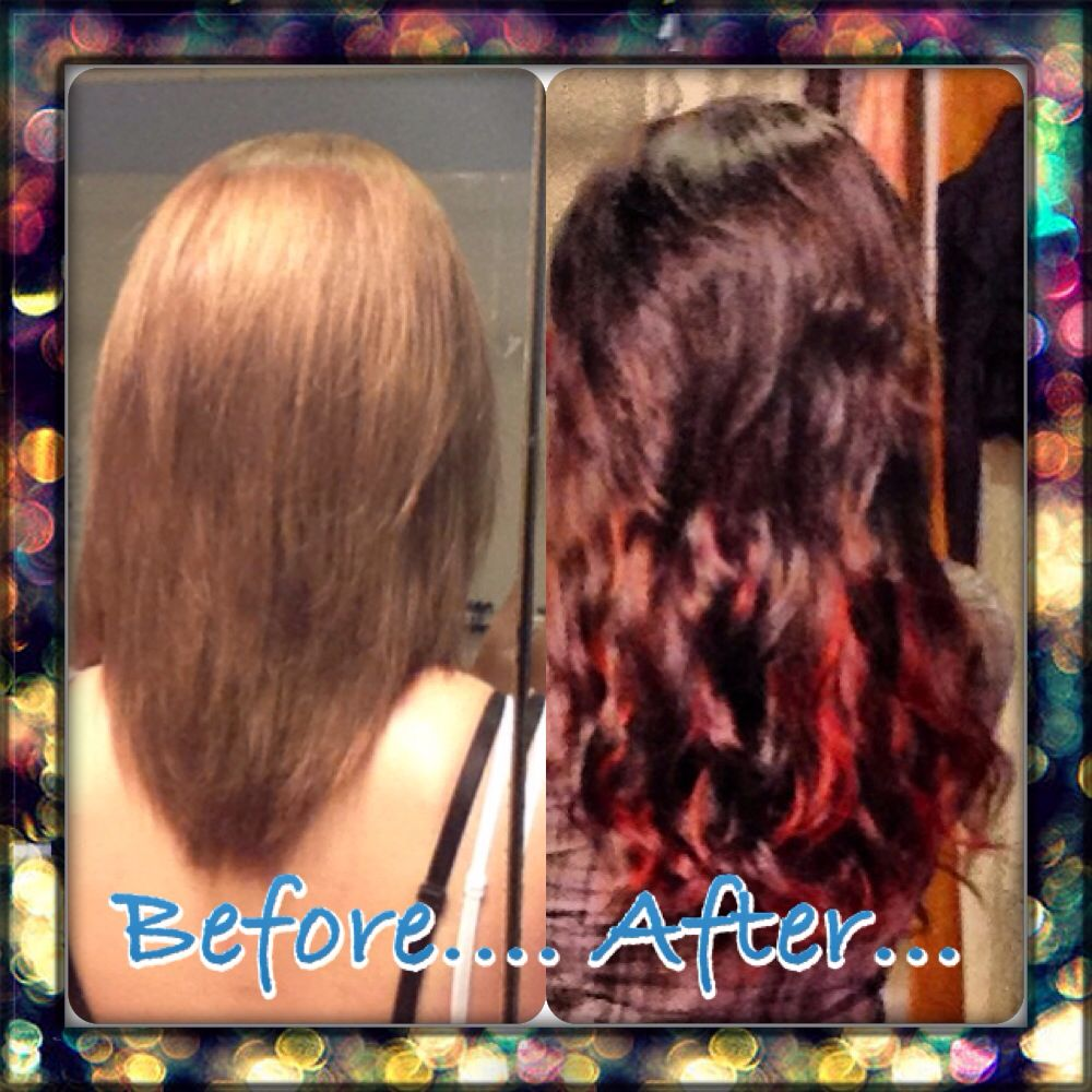 Before & after clip in hair extensions and color change. Dark Brown with red peekaboo highlights