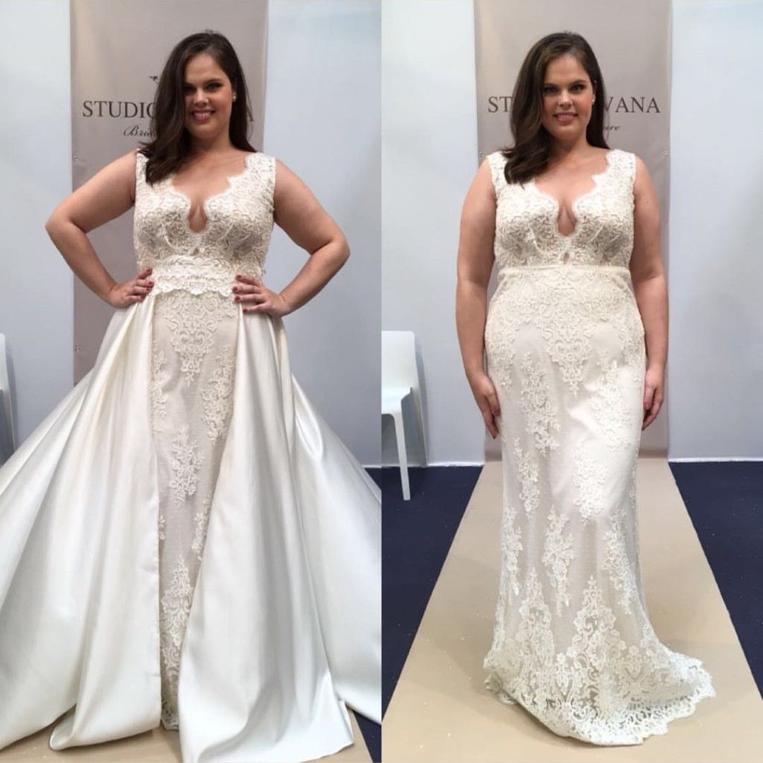 Mermaid lace wedding dress  Plus sizd mermaid lace wedding gown with detachable overskirt from