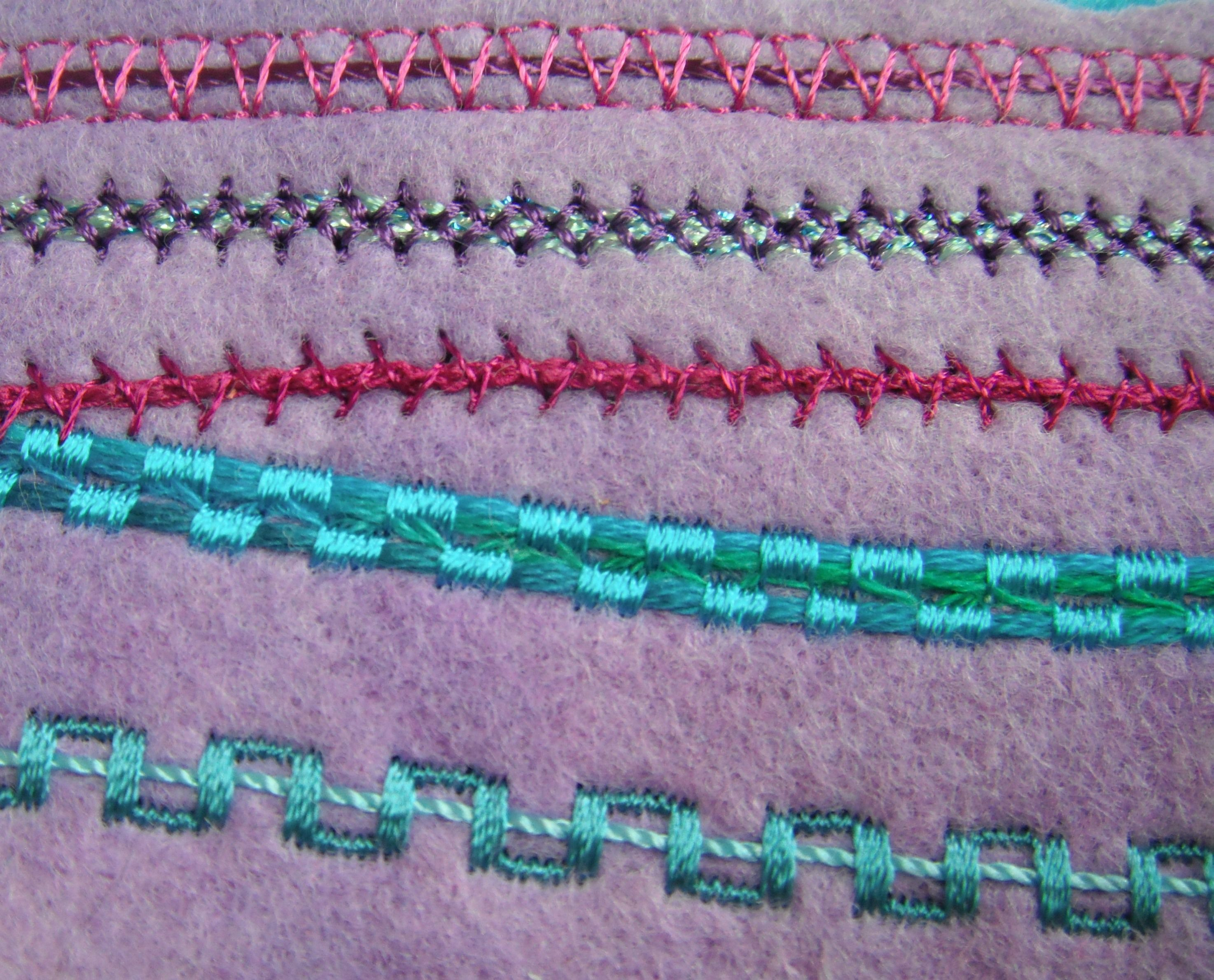 Yarns Couched With Decorative Stitches Adding Yarn To Your Sewing