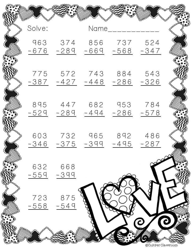 free 3 nbt 2 valentine 39 s day themed 3 digit subtraction with regrouping tpt free lessons. Black Bedroom Furniture Sets. Home Design Ideas