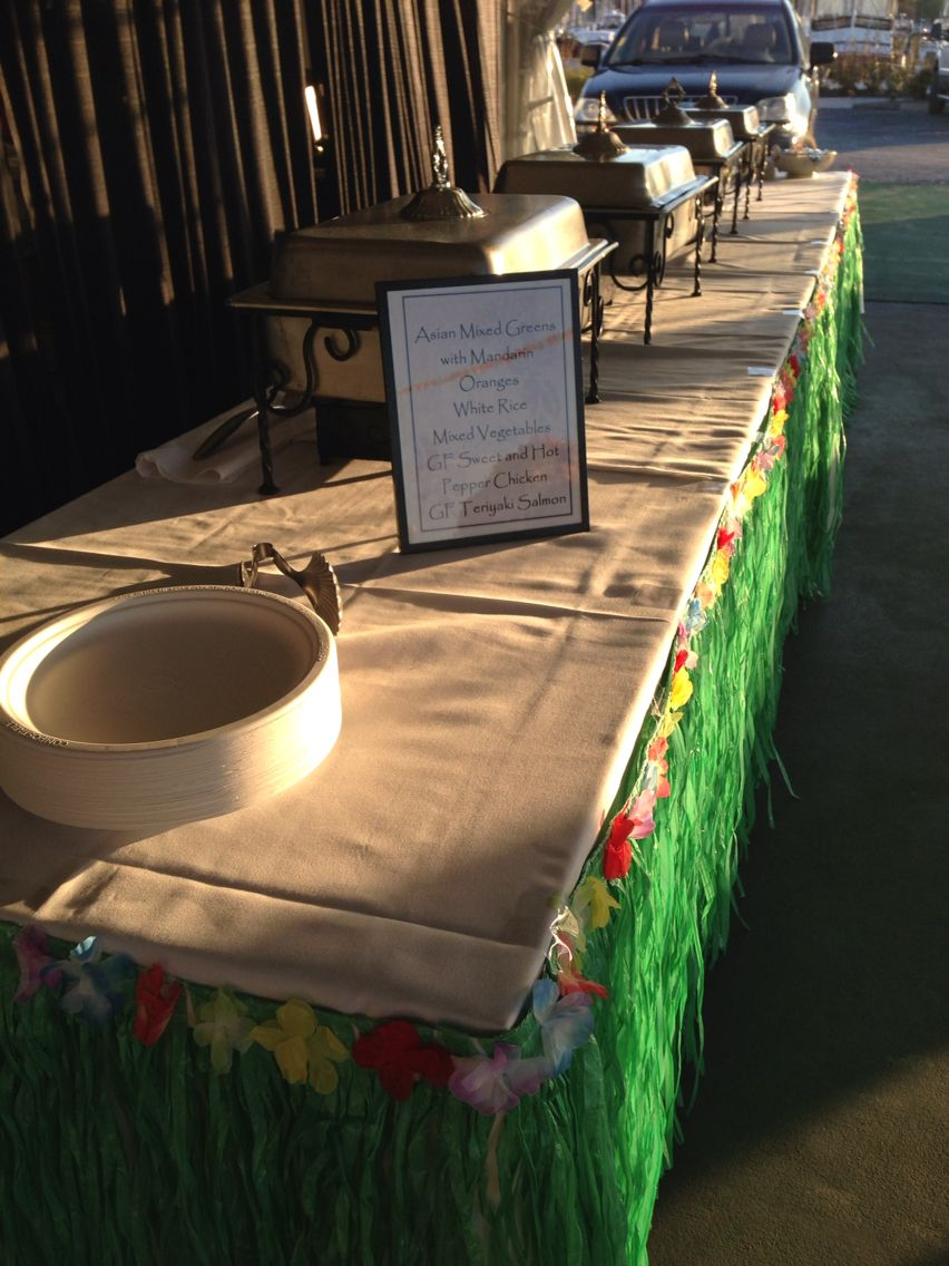 personalized buffet menu to match the luau themed rehearsal dinner at herrington on the bay. YUM!!