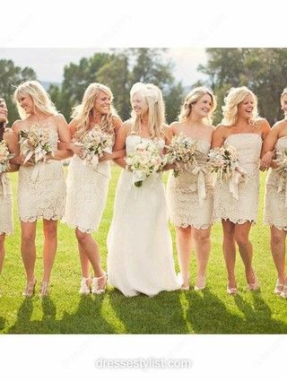 Short/Mini Sheath/Column Strapless Lace Bridesmaid Dresses