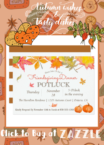 Falling Autumn Leaves Friendsgiving Dinner Potluck Invitation | Zazzle.com #autumnleavesfalling
