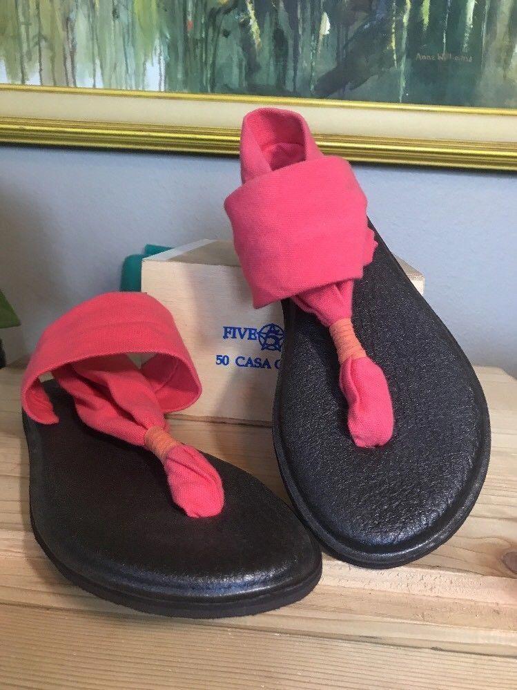 38cc98023e4 Sanuk Size 7 YOGA SLING 2 Pink Fabric Thong Slingbacks Sandals Womens Shoes