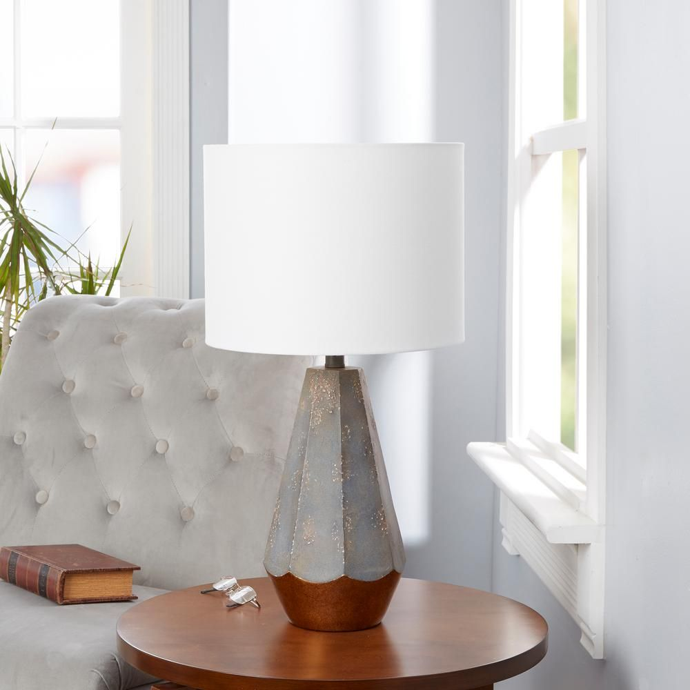 Silverwood Rustic Prism 25 In Slate Gray Table Lamp With Linen