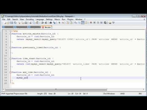 PHP Tutorials  Create a 'Like' Button   PHP Functions Part 6 7