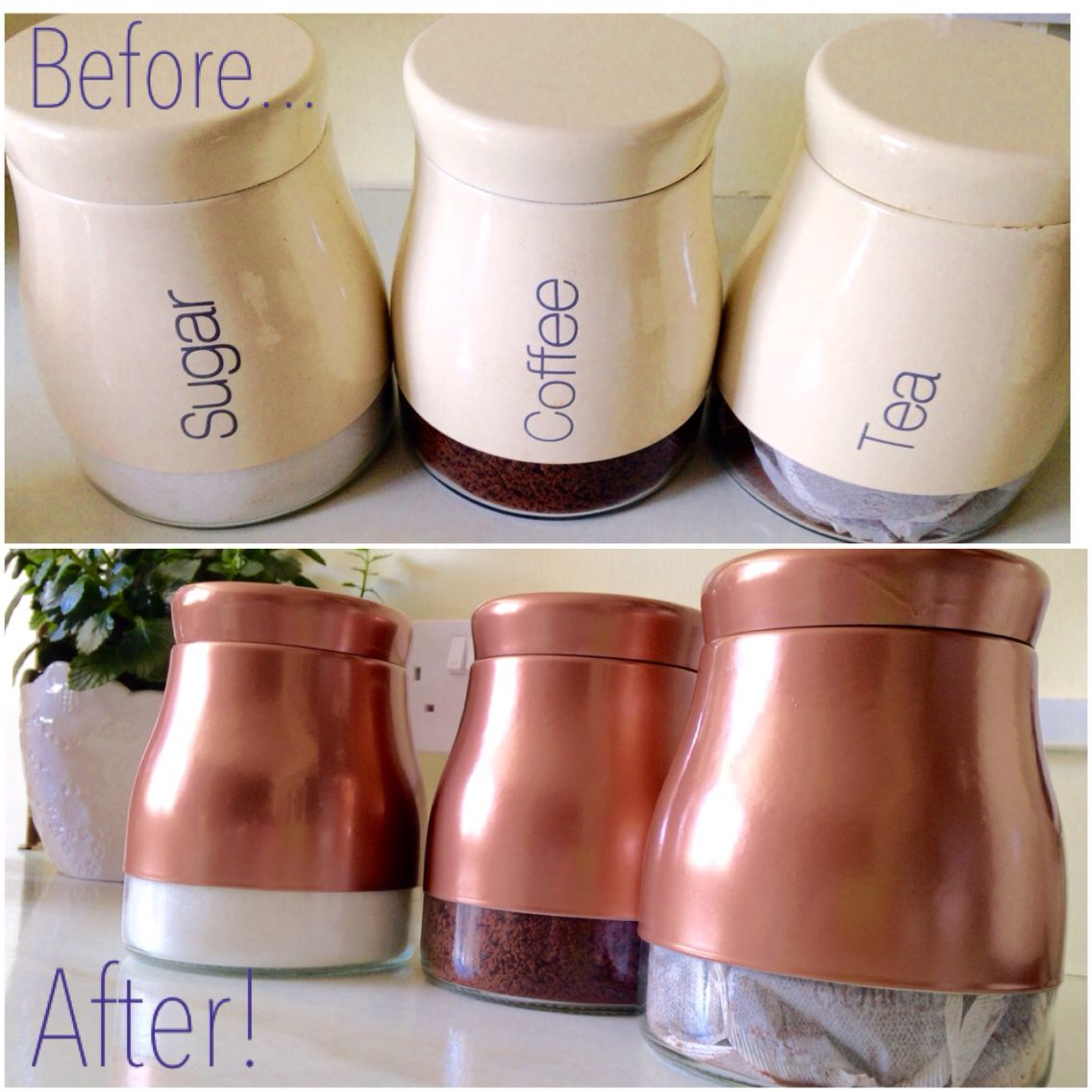 Valspar Spray Paint Colors Copper Spray Painted Canisters Using Plastikote Metallics