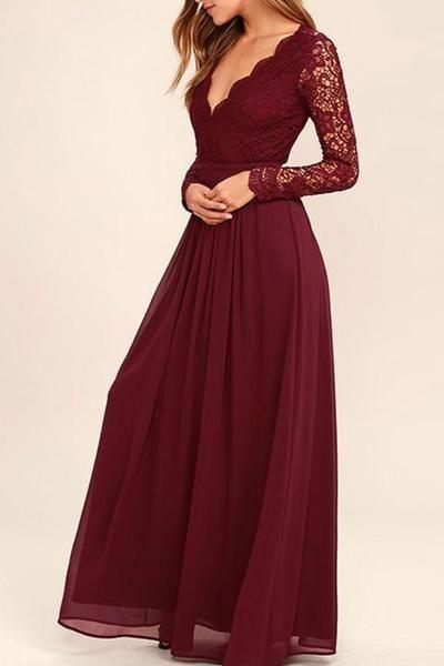 Lange Ärmel V-Ausschnitt Spitze Chiffon A-Line Maroon Prom Dresses Brautjungfernkleider #lacechiffon