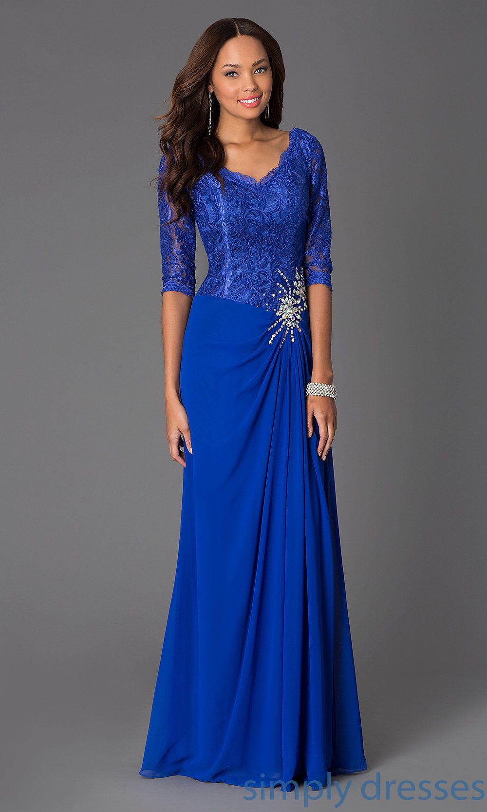 Shop long lace dresses with vnecks and sleeves at simplydresses