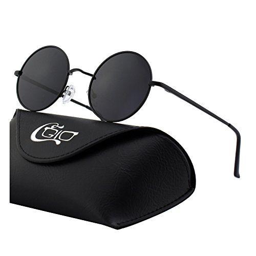CGID E01 Petites lunettes de soleil polarisées inspirées du style retro vintage Lennon en cercle métallique rond HDHCs