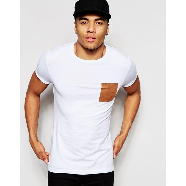 ASOS Muscle T-Shirt With Faux Suede Pocket And Roll Sleeve In White ($22