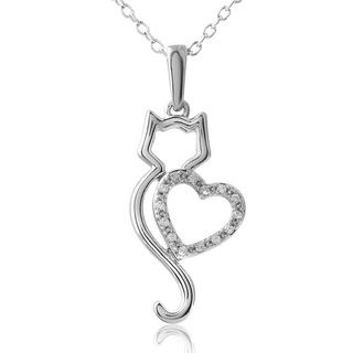 ASPCA Tender Voices Silver My Cat My Heart Pendant (1/15 cttw) - Overstock™ Shopping - Top Rated ASPCA Diamond Necklaces