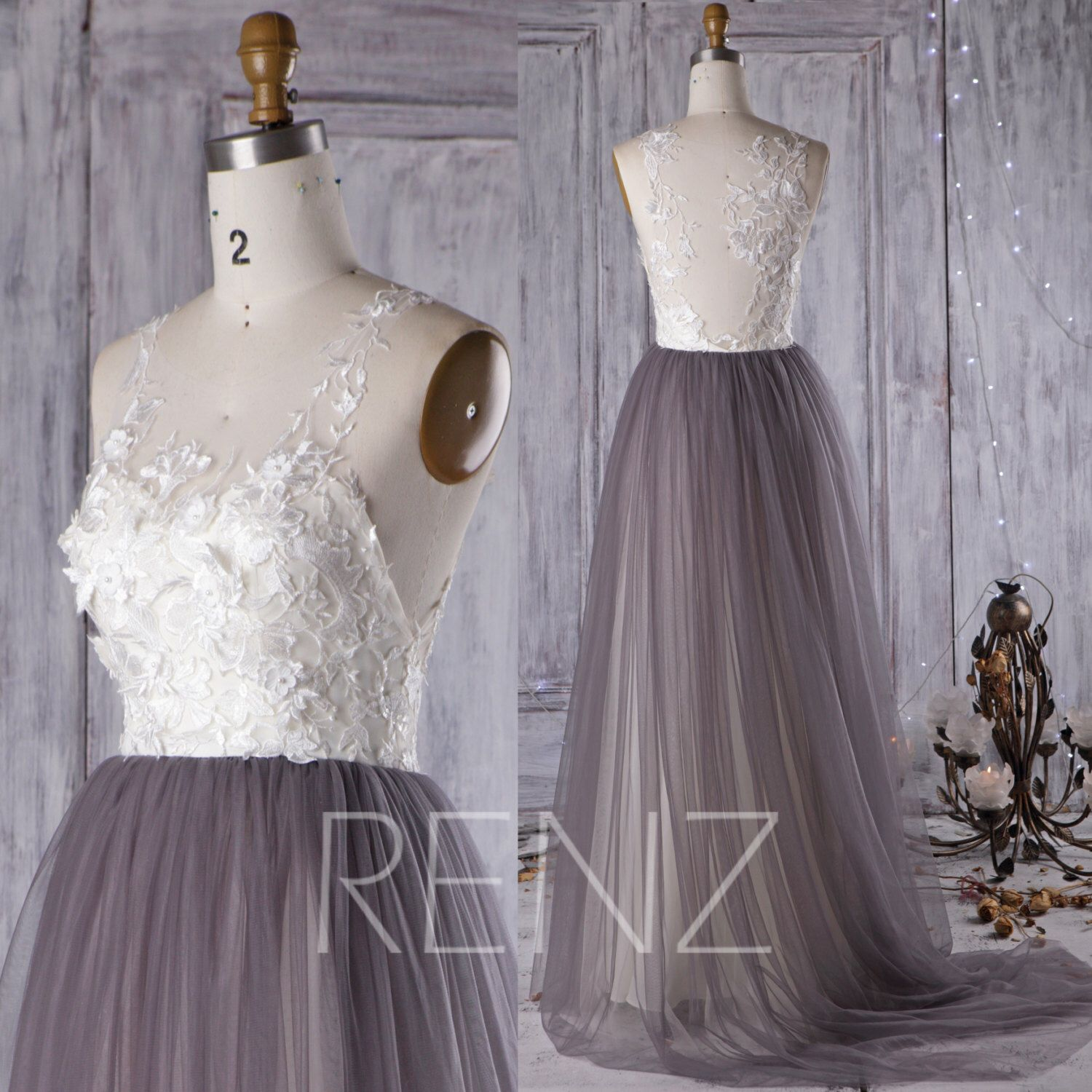 Gray dress for wedding party   Off White Lace Bridesmaid Dress Charcoal Gray Wedding Dress