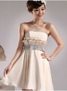 JENNY - A-line Knee length Chiffon Strapless Chinese Cheap Wedding Party Dress