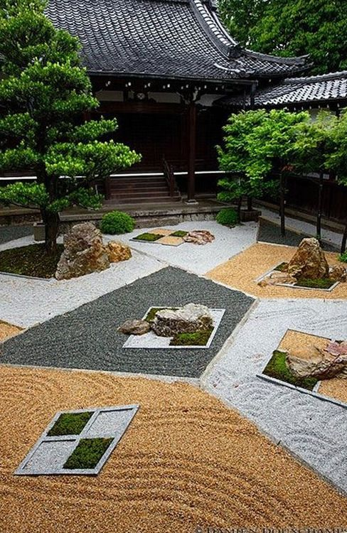 A modern ZenGarden at Shinnyo-do(真如堂) in Kyoto, Japan.  Garden  designed by Chisao Shigemori