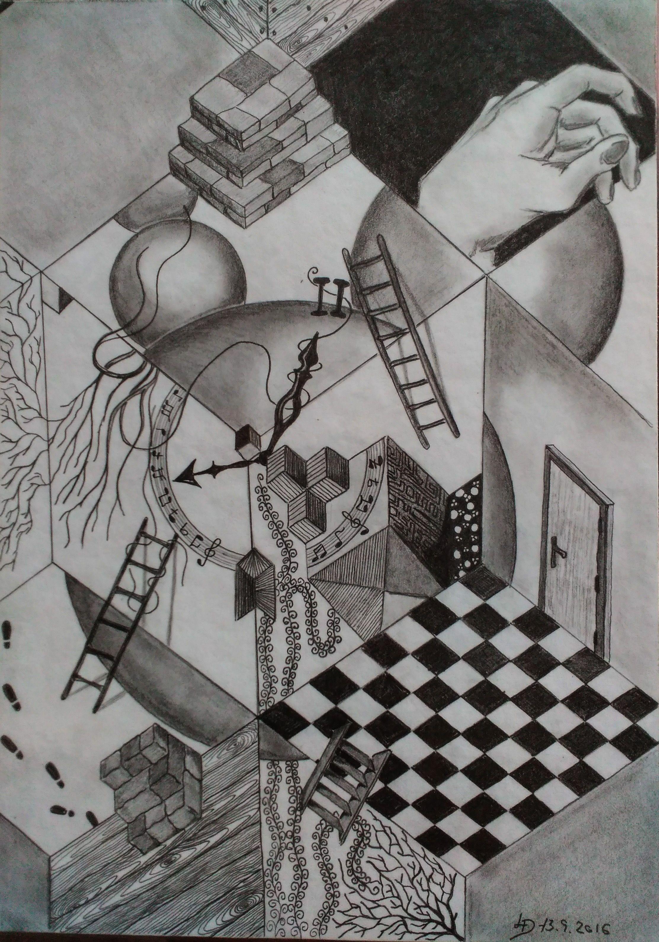 Drawing Pencil Kresba Tuzkou Abstrakce Hledani Reality