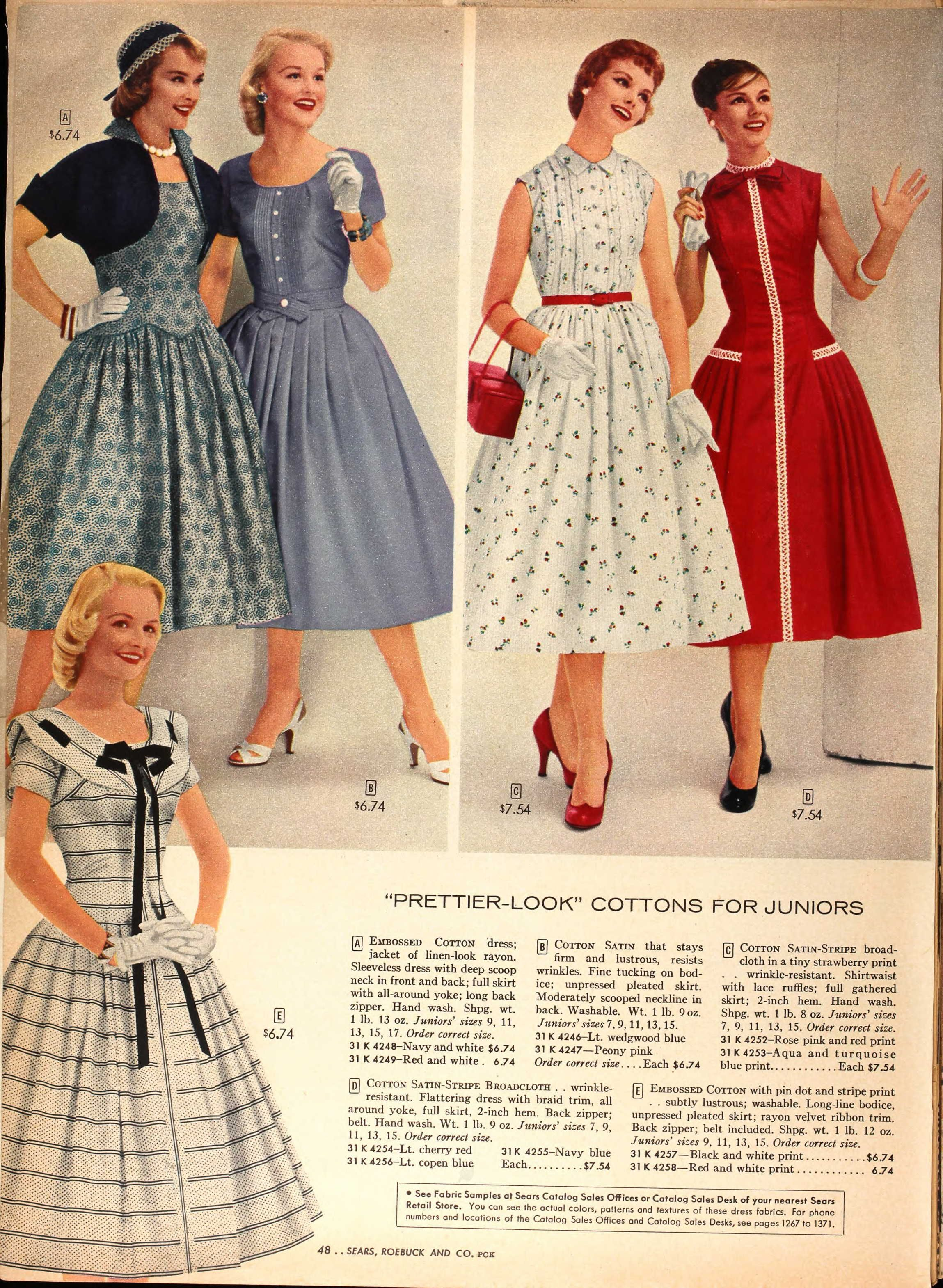 Sears and Roebucks Catalog, Spring 1957 | C. 1957 Party Dress ...