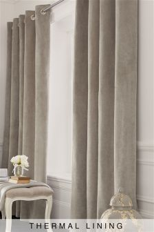 Thermal Soft Velour Eyelet Curtains 782973X57