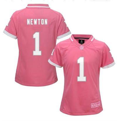 51068951d Women s Nike Carolina Panthers 1 Cam Newton Pink Bubble Gum Jersey ...