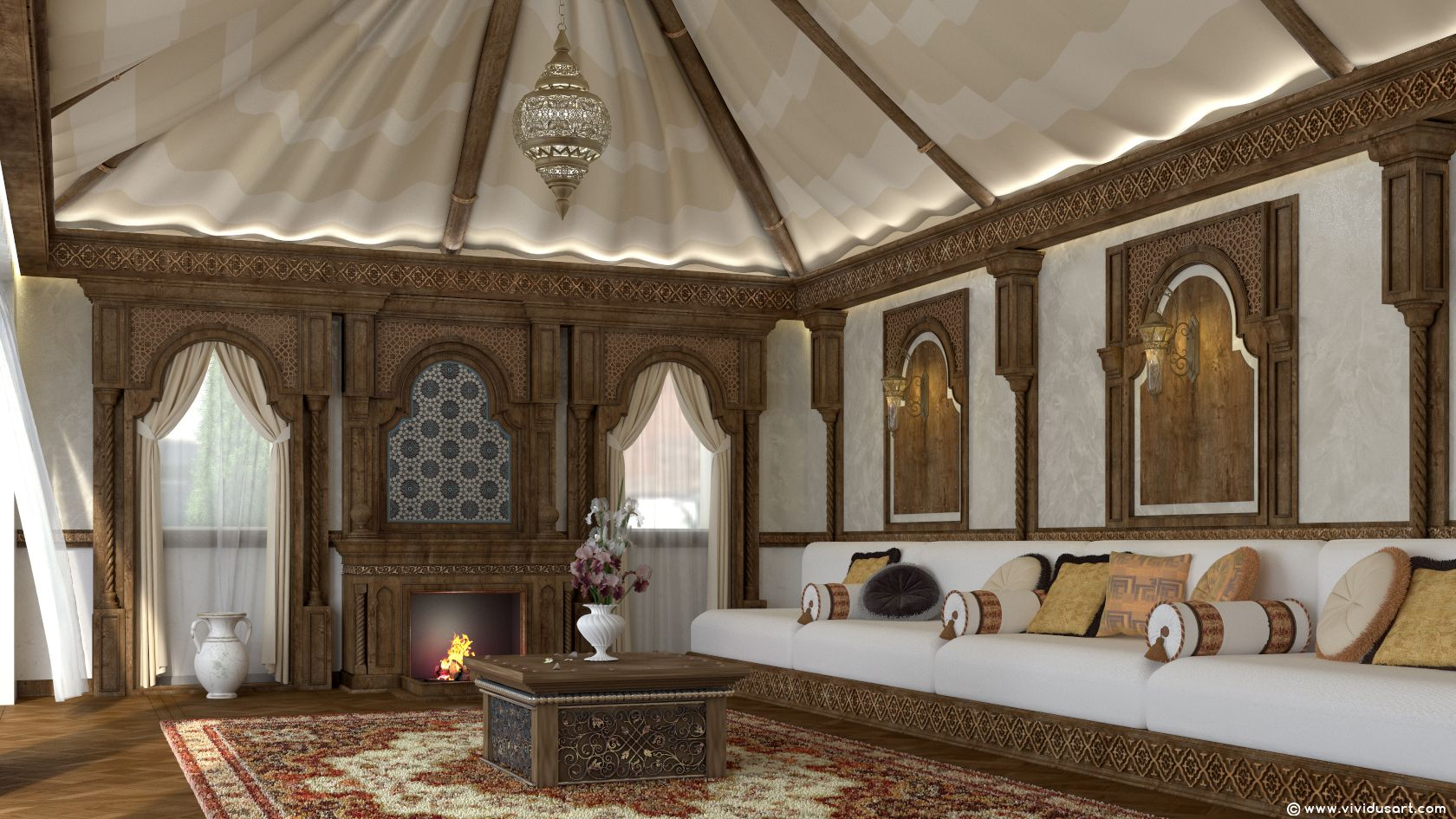 تصميم داخلي طراز عربي تقليدي Vividusart Interior Traditional Islamic Designed By Vividus Doha Qatar Classic Interior Design Interior Design