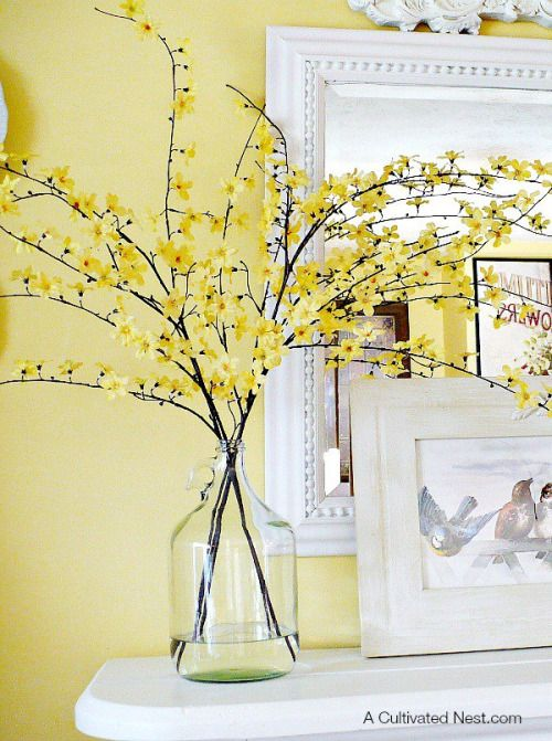 Centerpieces for your Home Flowering Forsythia Branches   Stick ...