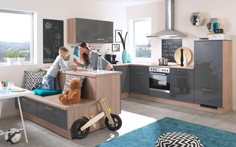 Küche U-Form in Grau Hochglanz - KücheCo Wohnen Pinterest House