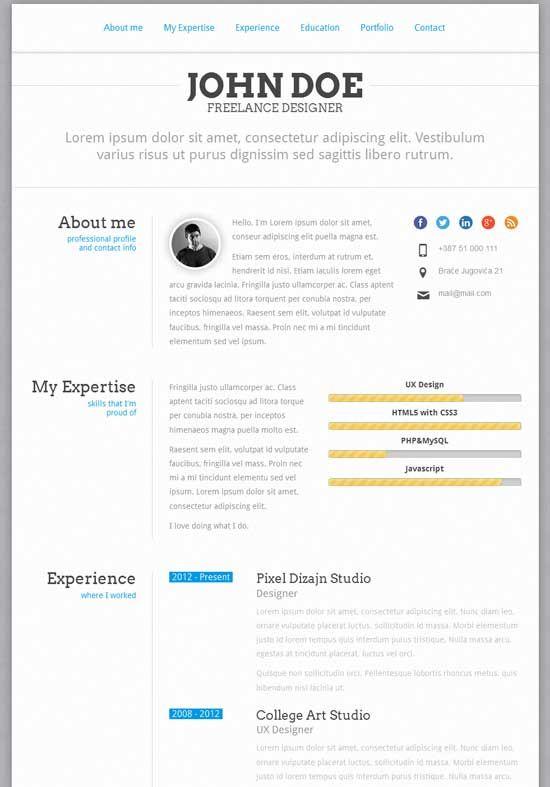 Resume Html | Html Cvs Branding Pinterest Online Cv Creative Resume
