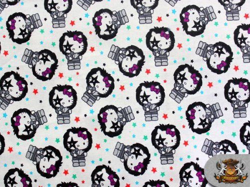 100% Cotton Print Fabric - HELLO KITTY KISS ROCK WHITE / Sold by the yard / SG-DSNY-025