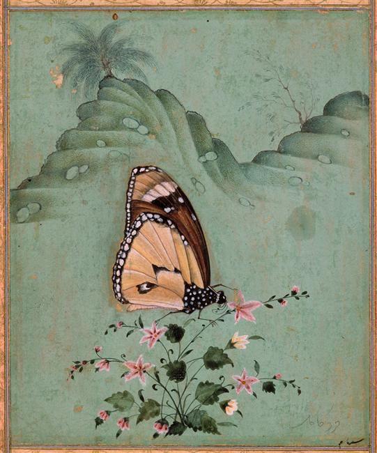 Shyâm Papillon posé sur une fleur Gouache, papier (matière - Poser Papier A Peindre