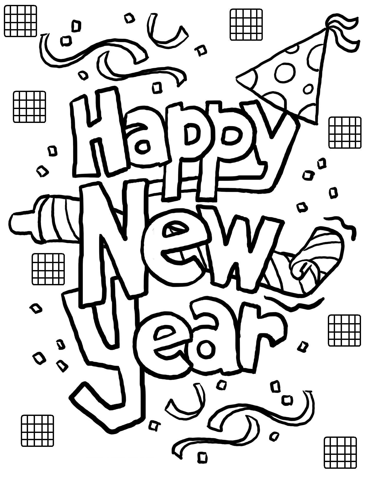 Happy New Year Coloring Pages Sheets New Year Coloring Pages New Year Clipart New Year S Eve Crafts