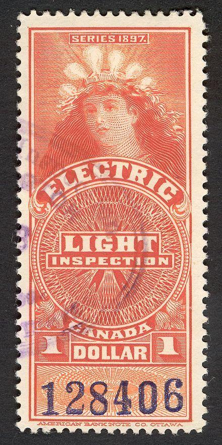 Lady Of The Lightbulbs Revenue Stamp Canada Ca 1900 Vintage