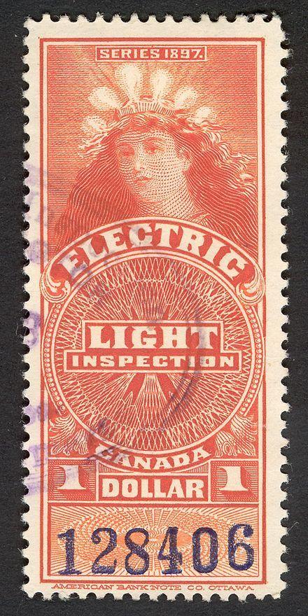 Lady of the Lightbulbs revenue stamp, Canada, ca.1900