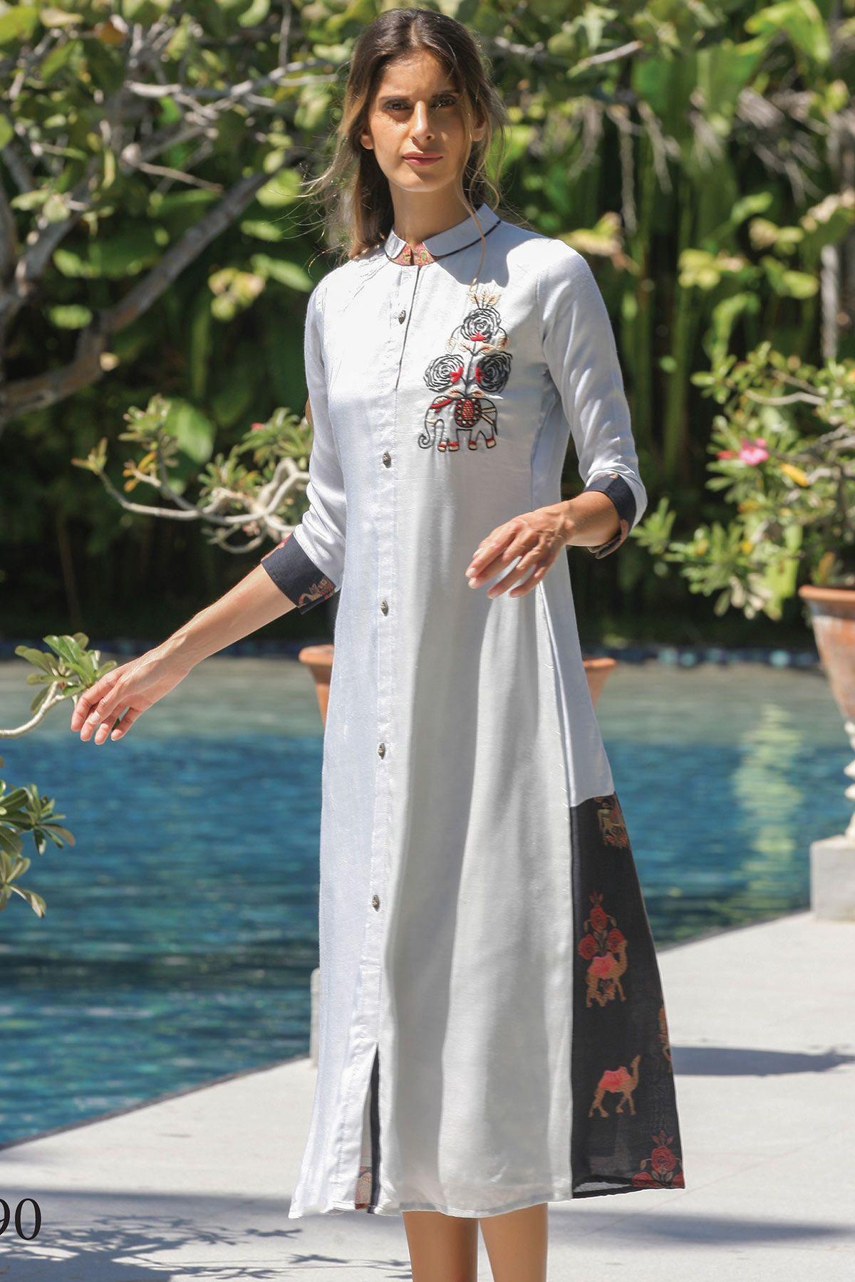 Multicolor cotton silk resham embroidered designer kurtiwkr