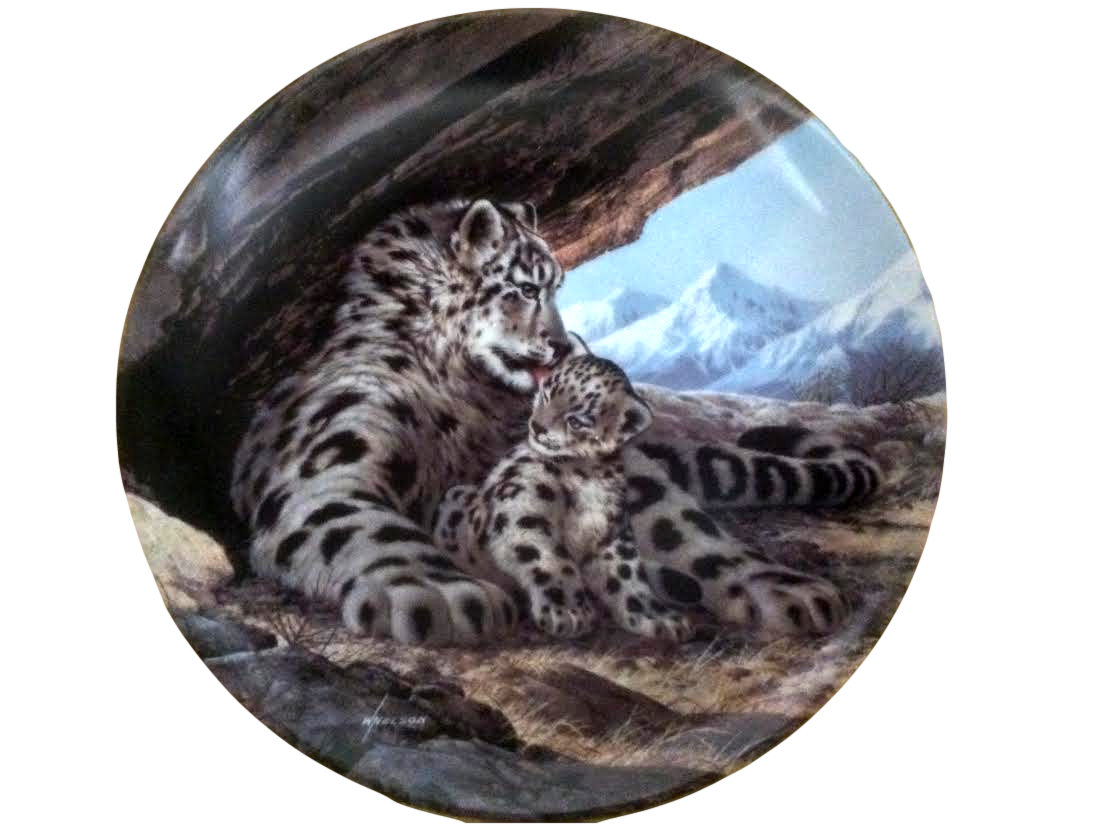 Home interior endangered species vintage snow leopard last of their kind endangered species plate