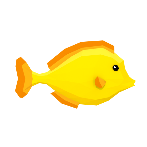 Lowpoly Colorful Reef Fishes Part 3 3 Yellow Fish Color Fish