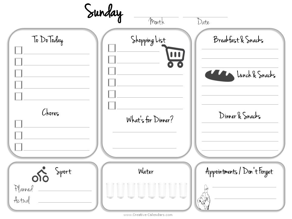 sunday to do list TECHNOLOGY for the ARTIST; INFORMATION AND - daily calendar printable