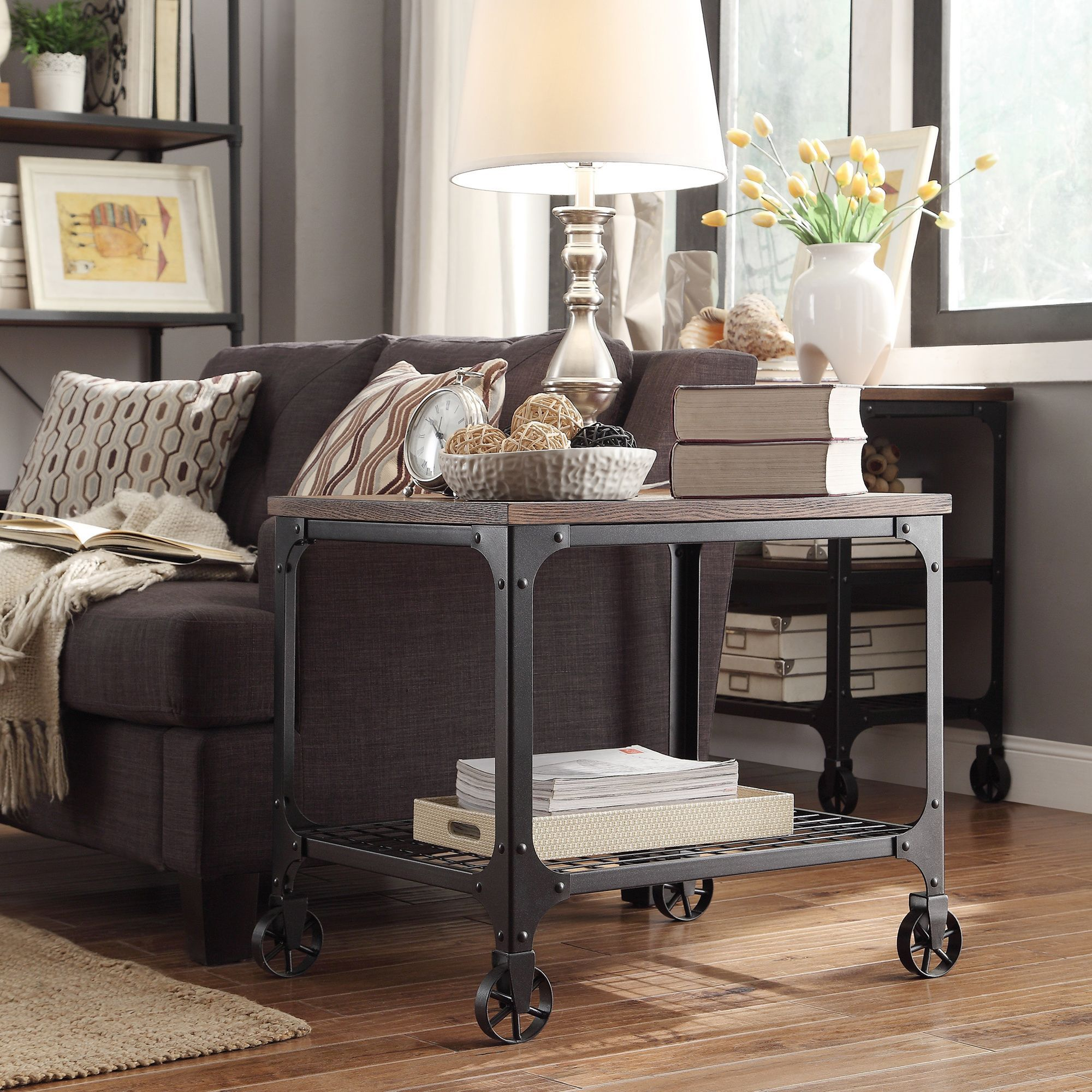 Nelson Rectangle Industrial Modern Rustic End Table by iNSPIRE Q Classic by  iNSPIRE Q