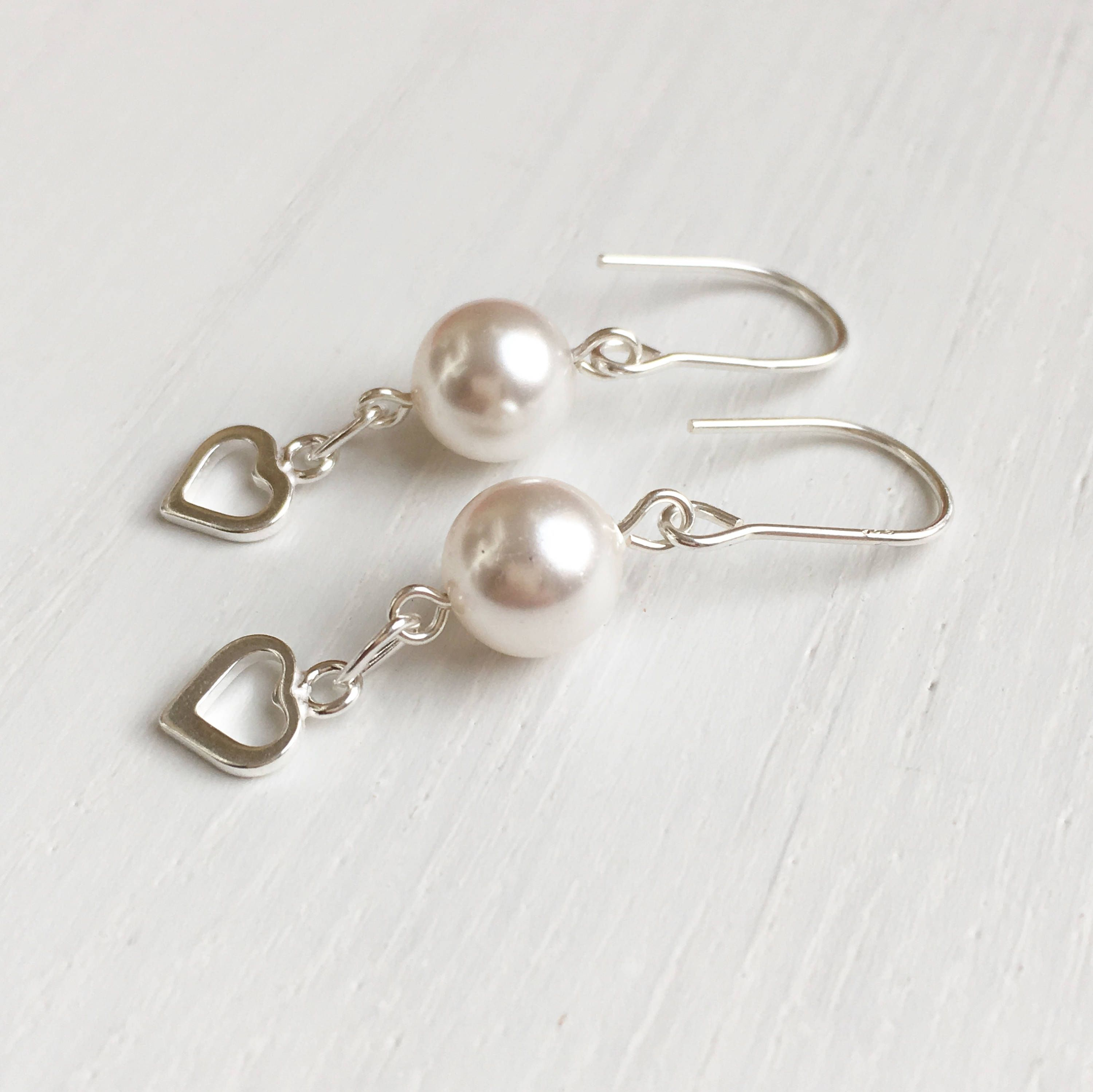 Love Hearts Silver Heart Earrings White Pearl Romantic Gifts For Her Wife Birthday Gift Anniversary UK Shops By