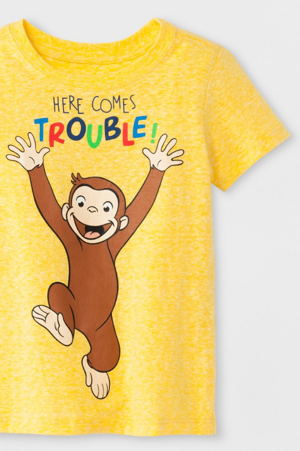 6824ab9d0f08e9 Curious George 'Here Comes Trouble' Short Sleeve Yellow T-Shirt for toddlers  for a Curious George Birthday Party Theme for kids!