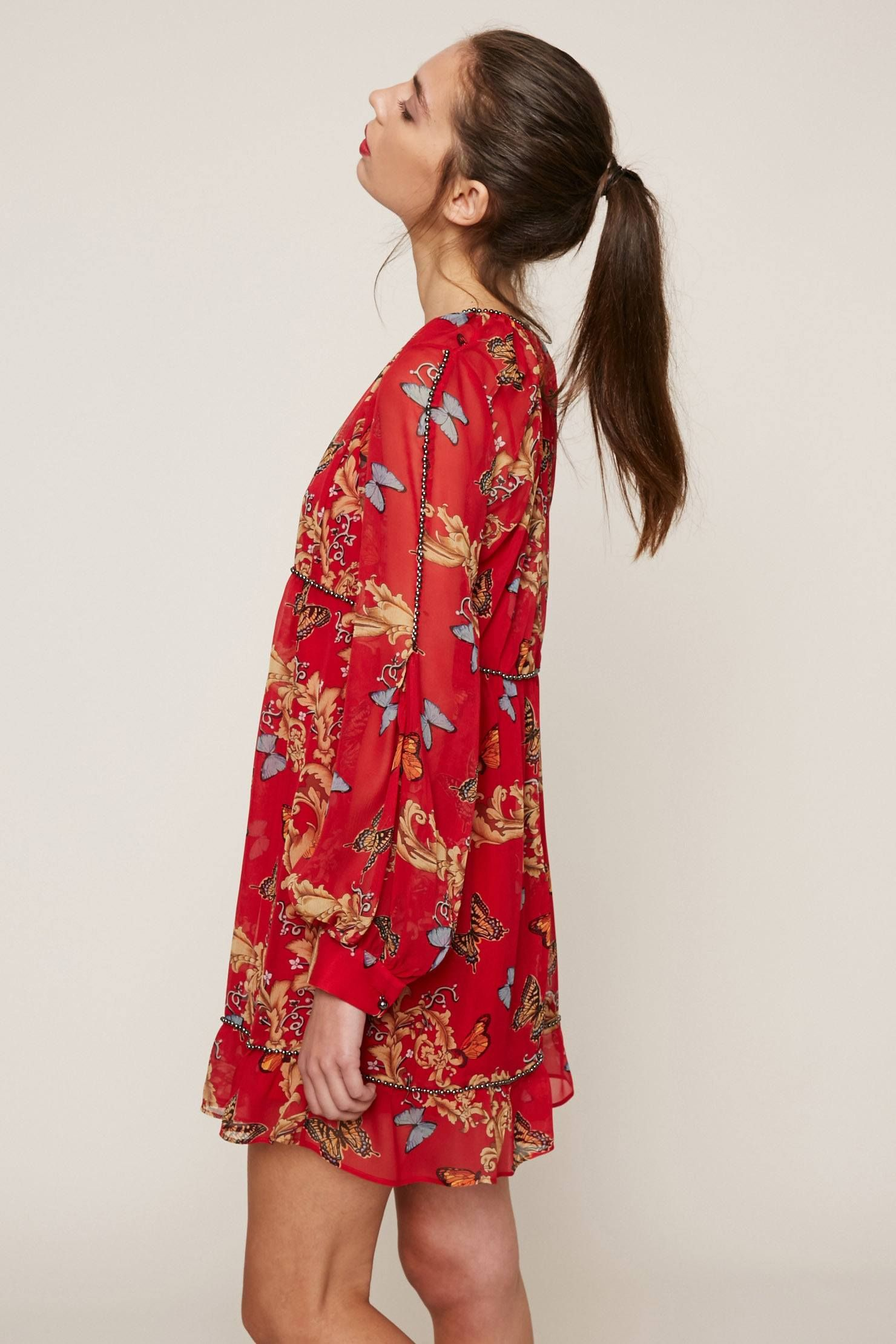 Robe courte soie imprime royal butterfly