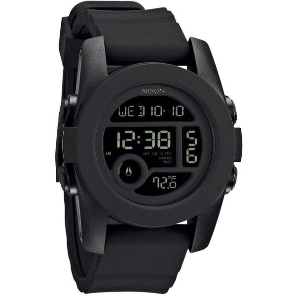 Nixon Unit One Digital Dial Black Silicone Unisex Watch (79 CAD) ❤ liked on Polyvore featuring jewelry, watches, digital watch, silicon watches, nixon wrist watch, unisex digital watch and analog watches