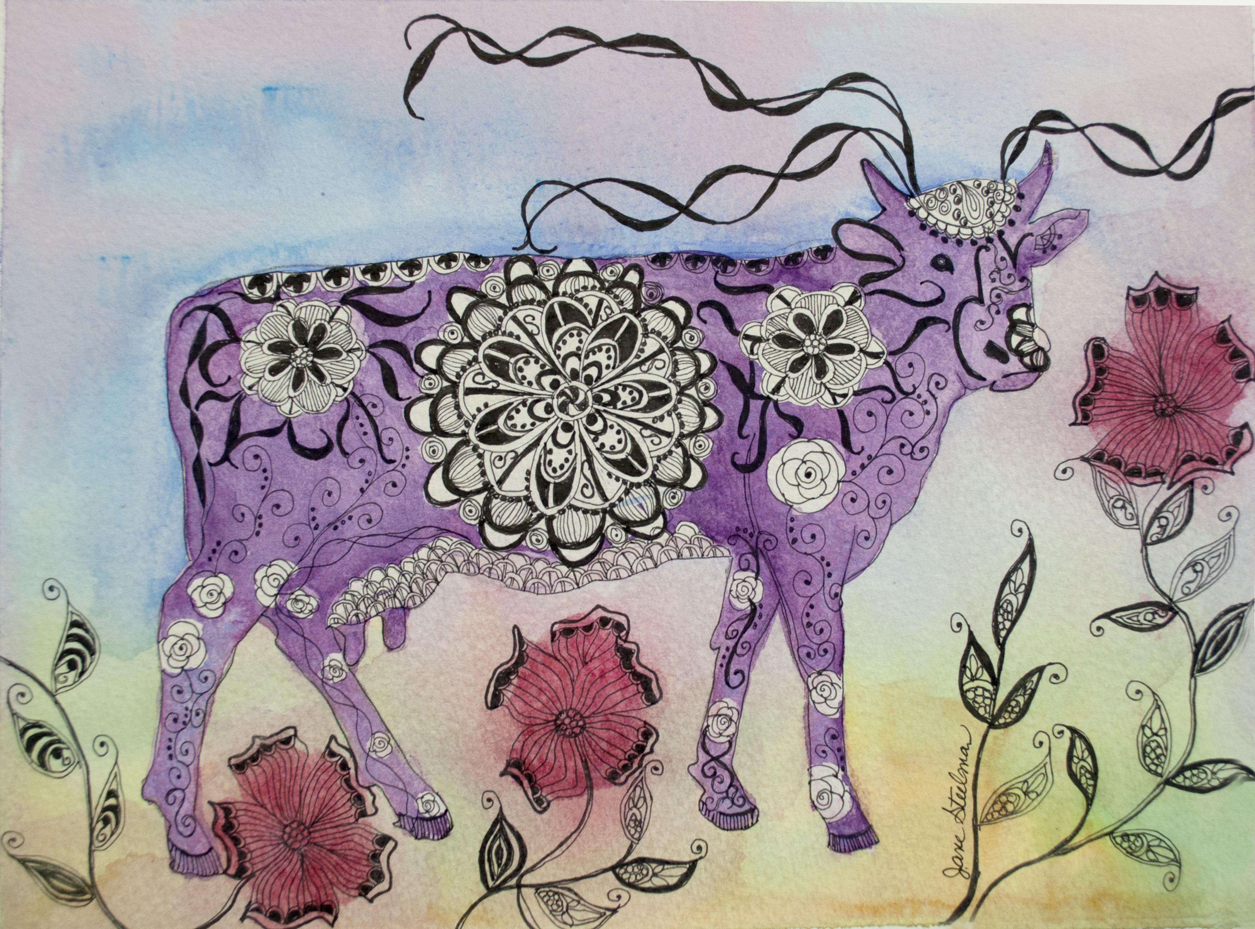 I've Never Seen a Purple Cow. Watercolor and Ink on 140lb arches