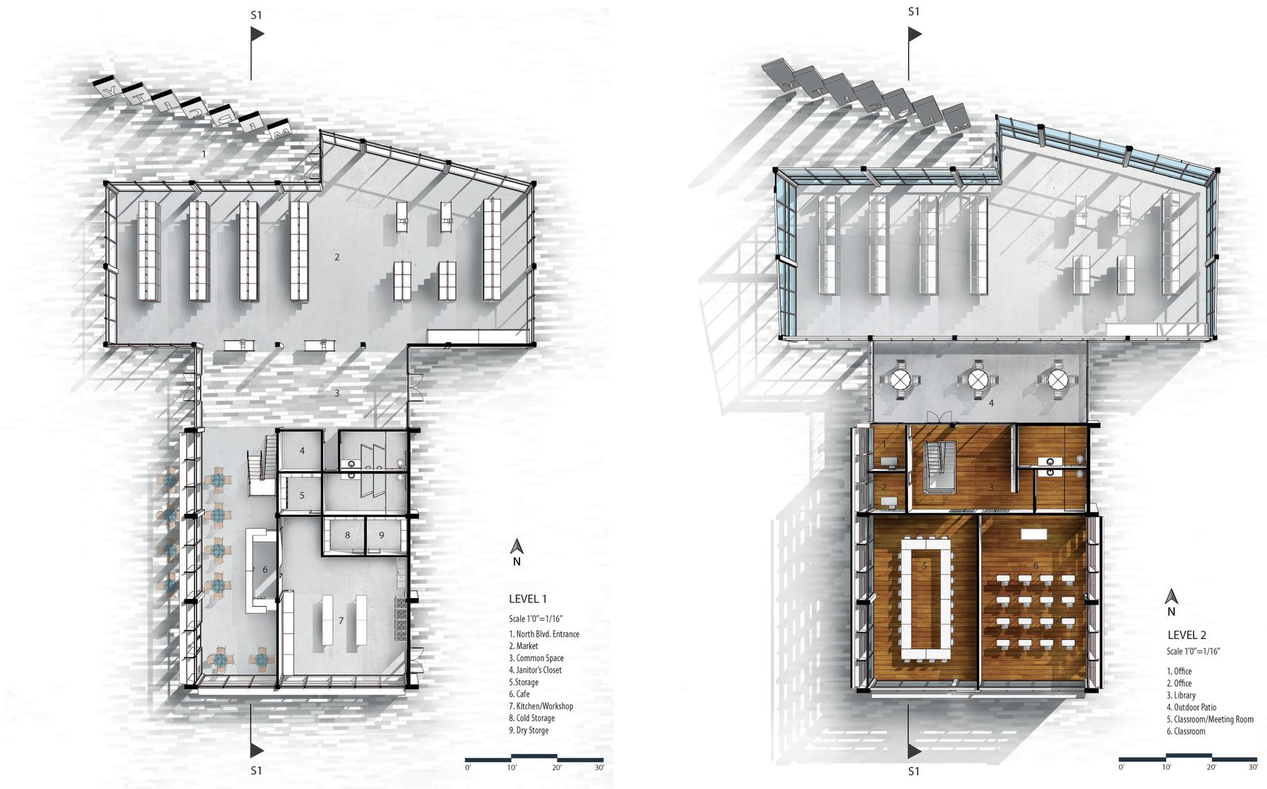 Love the cast shadows in plan simple rendering for Plan architecture