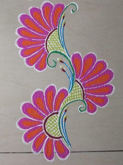 Simple Flower Rangoli Design With Images Rangoli Border
