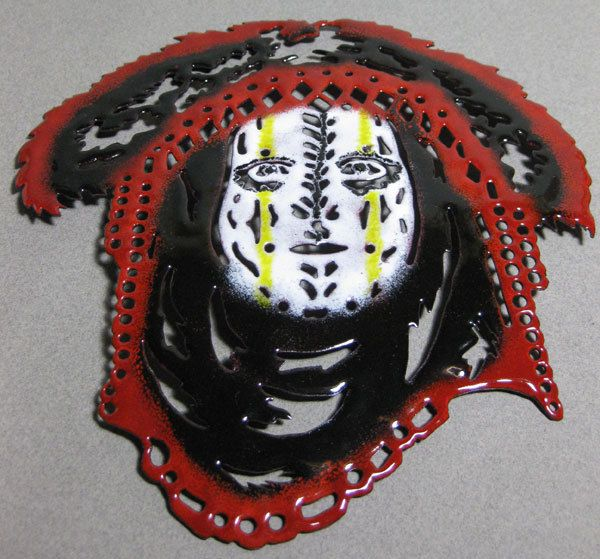 Handmade Enameled Copper Tribal Mask Plate. $90.00, via Etsy.