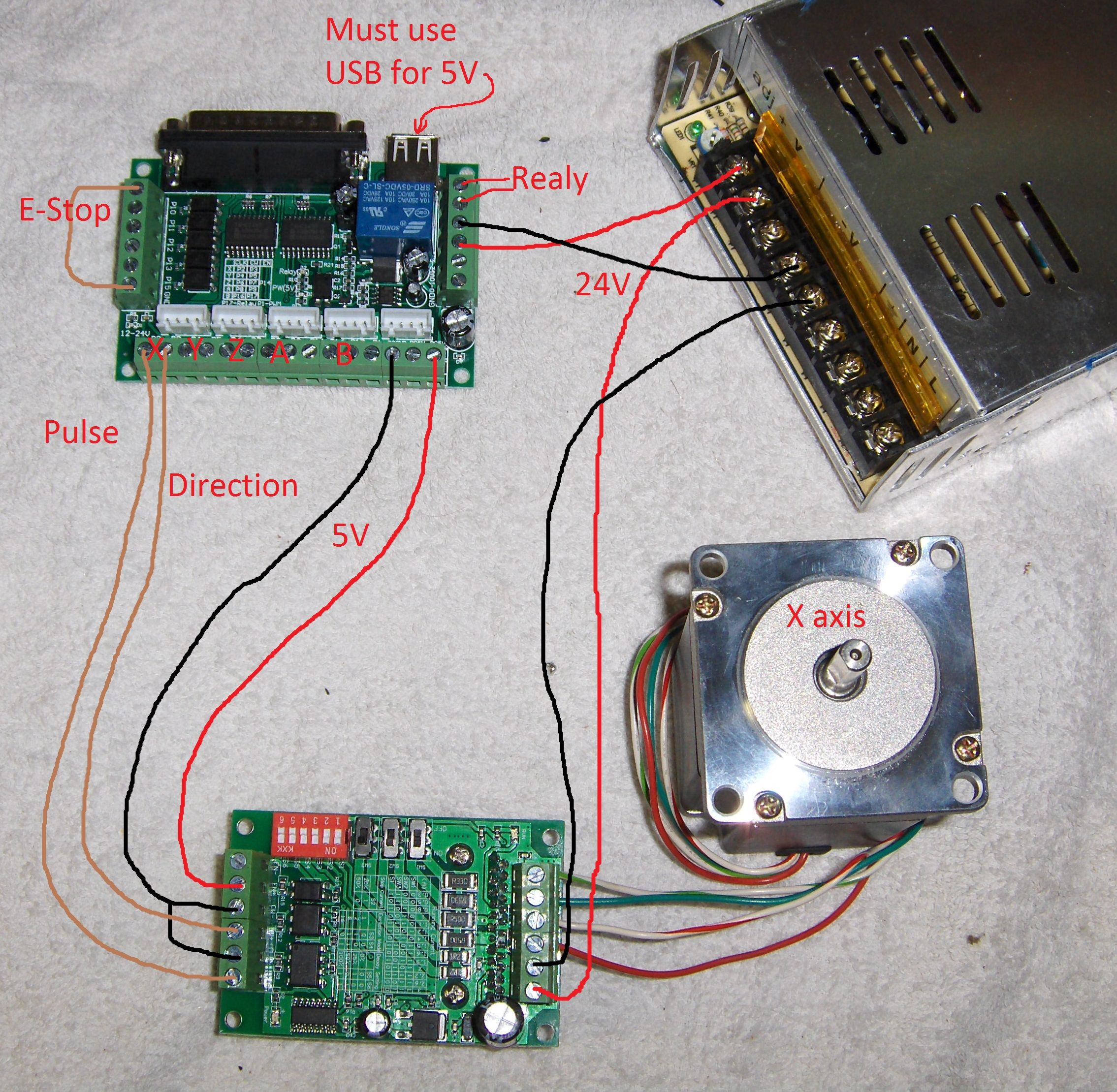 cnc router wiring diagram 3 wire circuit this is how i wired a 5 axis breakout board to 6560