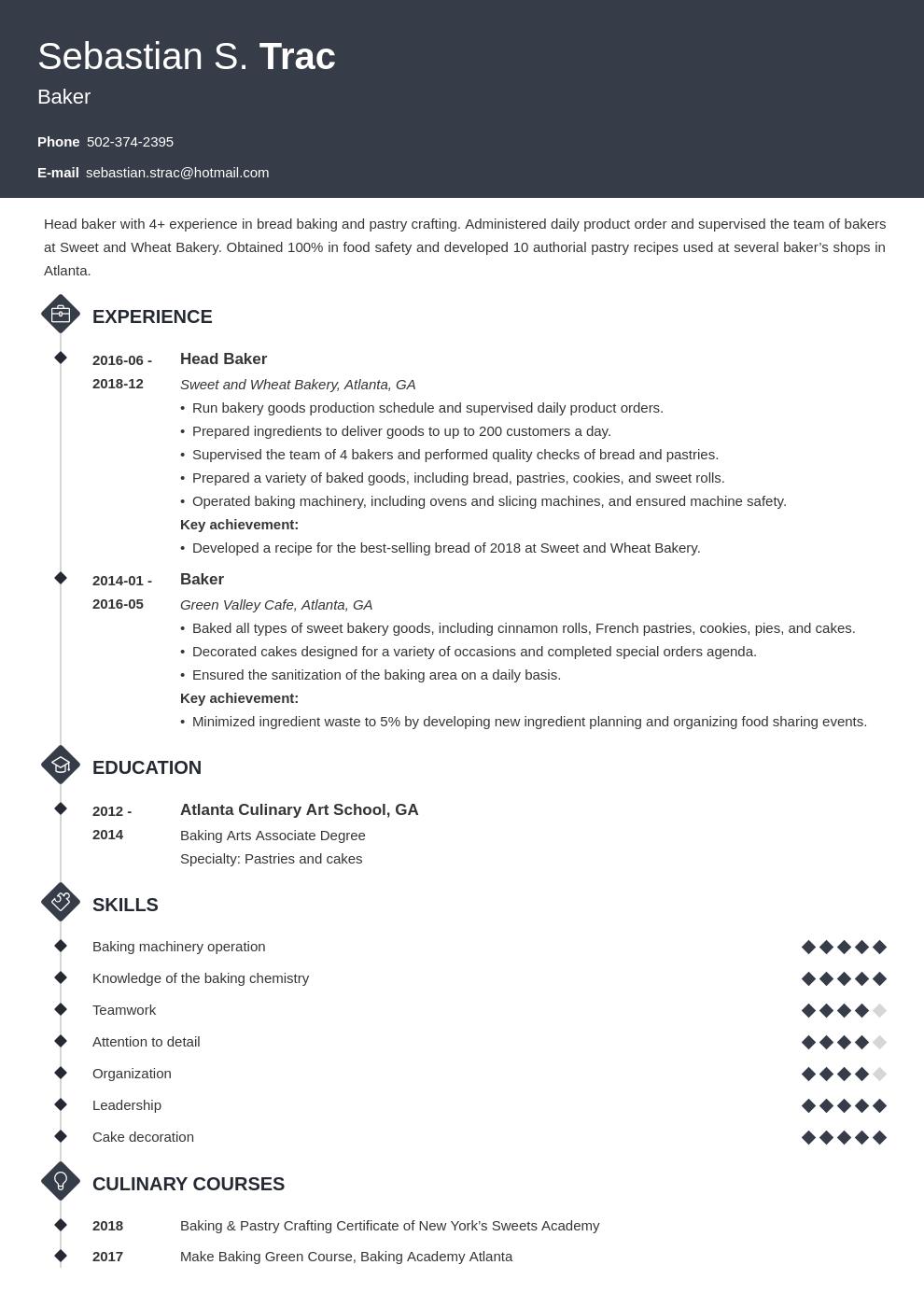 Baker Resume Example Template Diamond Resume Examples Job Resume Examples Guided Writing